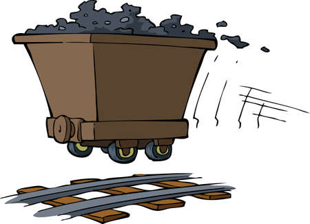 Trolley with ore on rails illustration