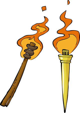 flambeau: Two torch on a white background illustration Illustration