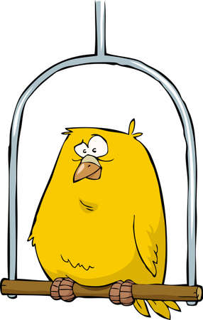 Yellow canary sitting on a pole vector illustration Illustration