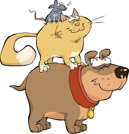 Dog cat and mouse together vector illustration
