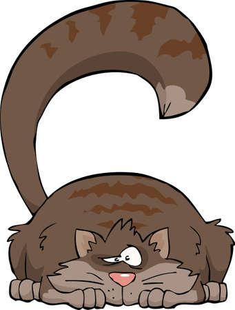 gato caricatura: Gato gris en una ilustración de fondo vector