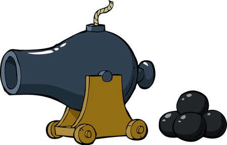 cannon gun: Old gun on the white background vector illustration