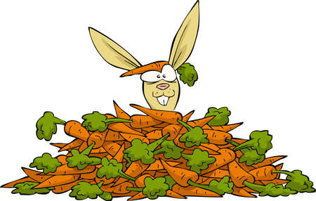 Rabbit looks out from a heap of carrots vector illustration Stock Vector - 18210458