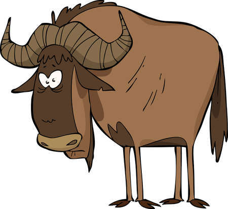 Wildebeest on a white background vector illustration
