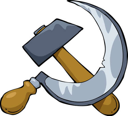 sickle: Hammer and sickle on a white background
