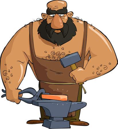 forge: Cartoon smith on white background
