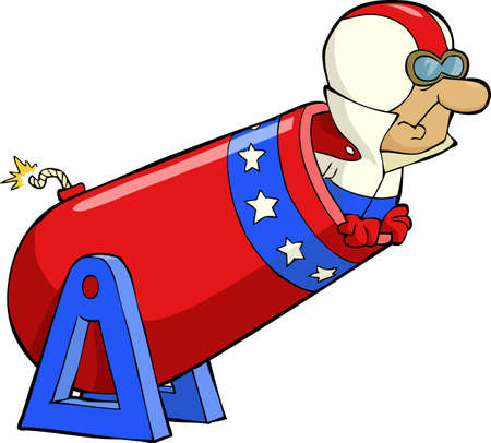 cannonball: Human cannonball on a white background vector illustration