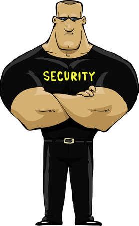 hombre fuerte: Servicio de seguridad en una ilustración de fondo vector