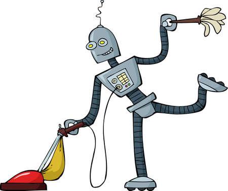 vacuuming: Pulitore del robot su sfondo bianco illustrazione vettoriale Vettoriali