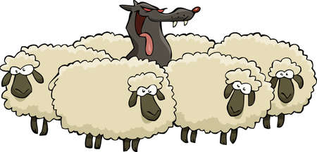cartoon mascot: A wolf in sheep herd vector illustration