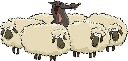 and sheep: Un lobo con ilustración vectorial ovejas del rebaño