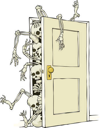 closet door: Cartoon skeletons in the closet vector illustration