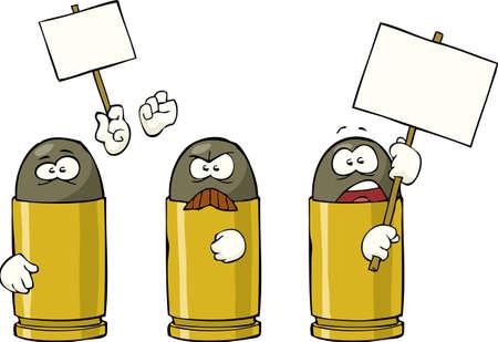ammunition: Striking ammunition on white background  illustration