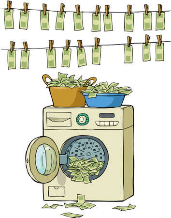 laundering: Money laundering in washing machine  illustration Illustration
