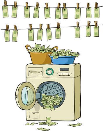 money laundering: Riciclaggio di denaro in lavatrice illustrazione