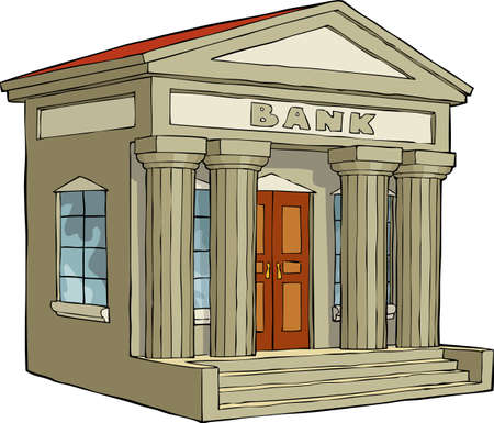 Bank building on a white background