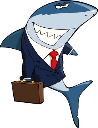 deceive: Business Shark on a white background vector illustration
