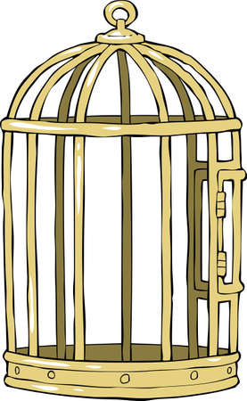 in a cage: Bird cage on a white background  illustration