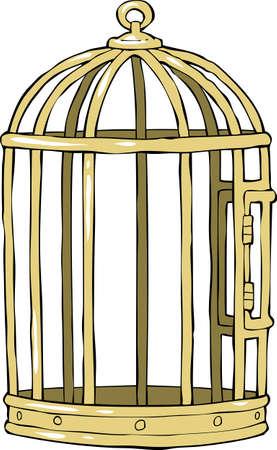 enclosures: Gabbia per uccelli su uno sfondo bianco illustrazione