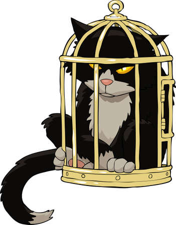 Cat in the bird cage  illustration Illustration