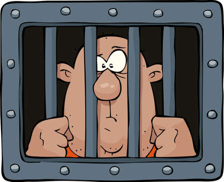 jail: Prisoner behind bars on a white background  illustration