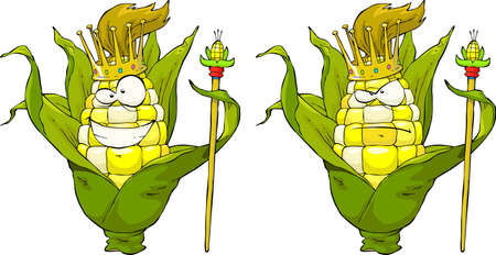 maize: King corn on a white background  illustration