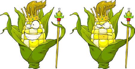 elote caricatura: Rey de maíz sobre un fondo blanco Ilustración