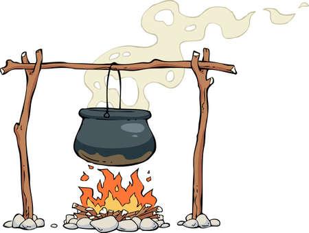 lägereld: En pott på elden illustrationen Illustration