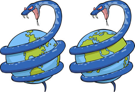 wreathe: The snake wound around the globe illustration