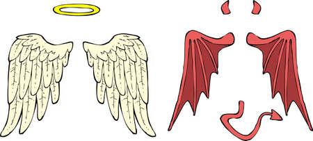 만화 천사와 악마 날개 벡터 일러스트 레이 션 일러스트