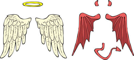 heaven and hell: Cartoon angel and demon wings vector illustration