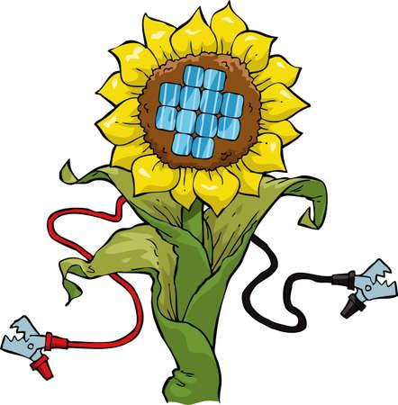 Cartoon flower with solar panel vector illustration Vector