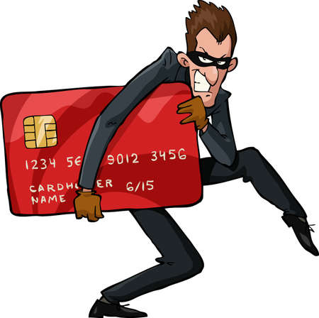 spyware: A thief with a credit card vector illustration