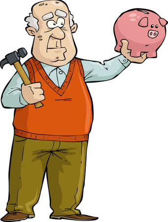 cartoon money: The old man thought of broken piggy bank  Illustration
