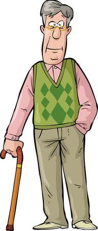 Gelukkig oudere man met een stok Stock Illustratie