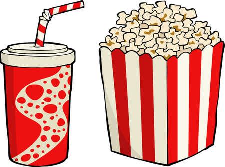Box of popcorn with soda Stock Vector - 20679320