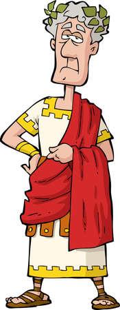 De Romeinse keizer op een witte achtergrond Stock Illustratie