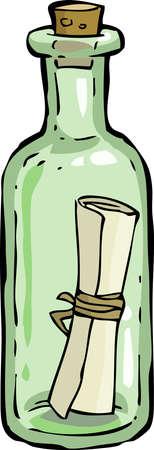 pocion: Una botella con una carta Vectores
