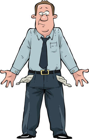 cartoon money: A man with empty pockets  Illustration