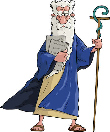 Moses with his staff and tablets  Vector