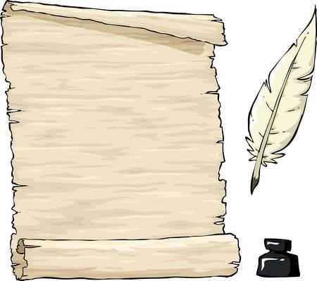 pluma de escribir antigua: Pergamino y la pluma con tintero Vectores