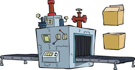 cinta transportadora: Equipo de producción sobre un fondo blanco Vectores