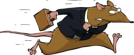 rata caricatura: Rata se ejecuta en un fondo blanco Vectores