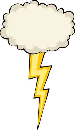 Cloud with lightning on a white background