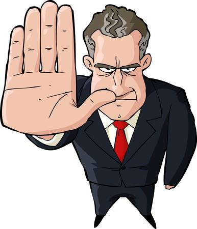 politician: Businessman showing stop gesture on white background Illustration