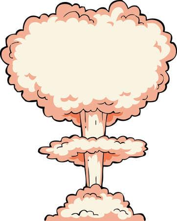 explosion: Nuclear Explosion auf einem wei�en Hintergrund Illustration