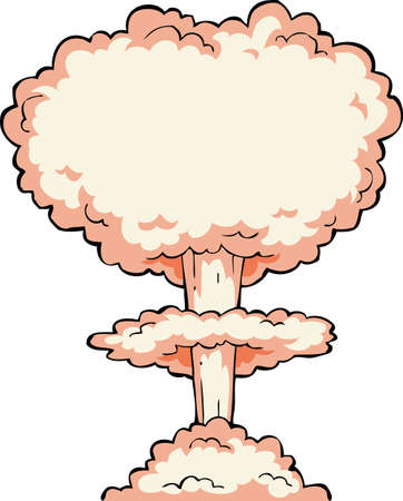 atomic symbol: Nuclear explosion on a white background  Illustration