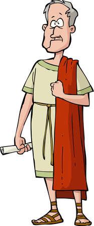 Roman senator on a white background