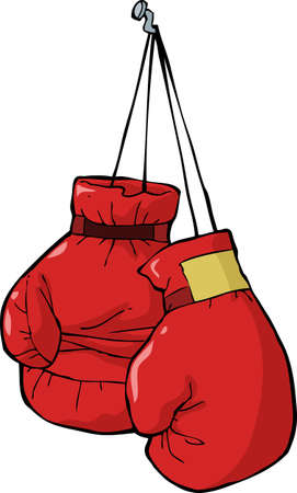boxing training: Boxing gloves on a nail vector illustration