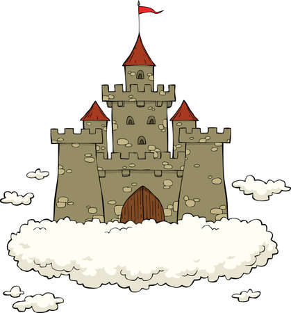 fortress: Castle on a cloud on a white background vector illustration